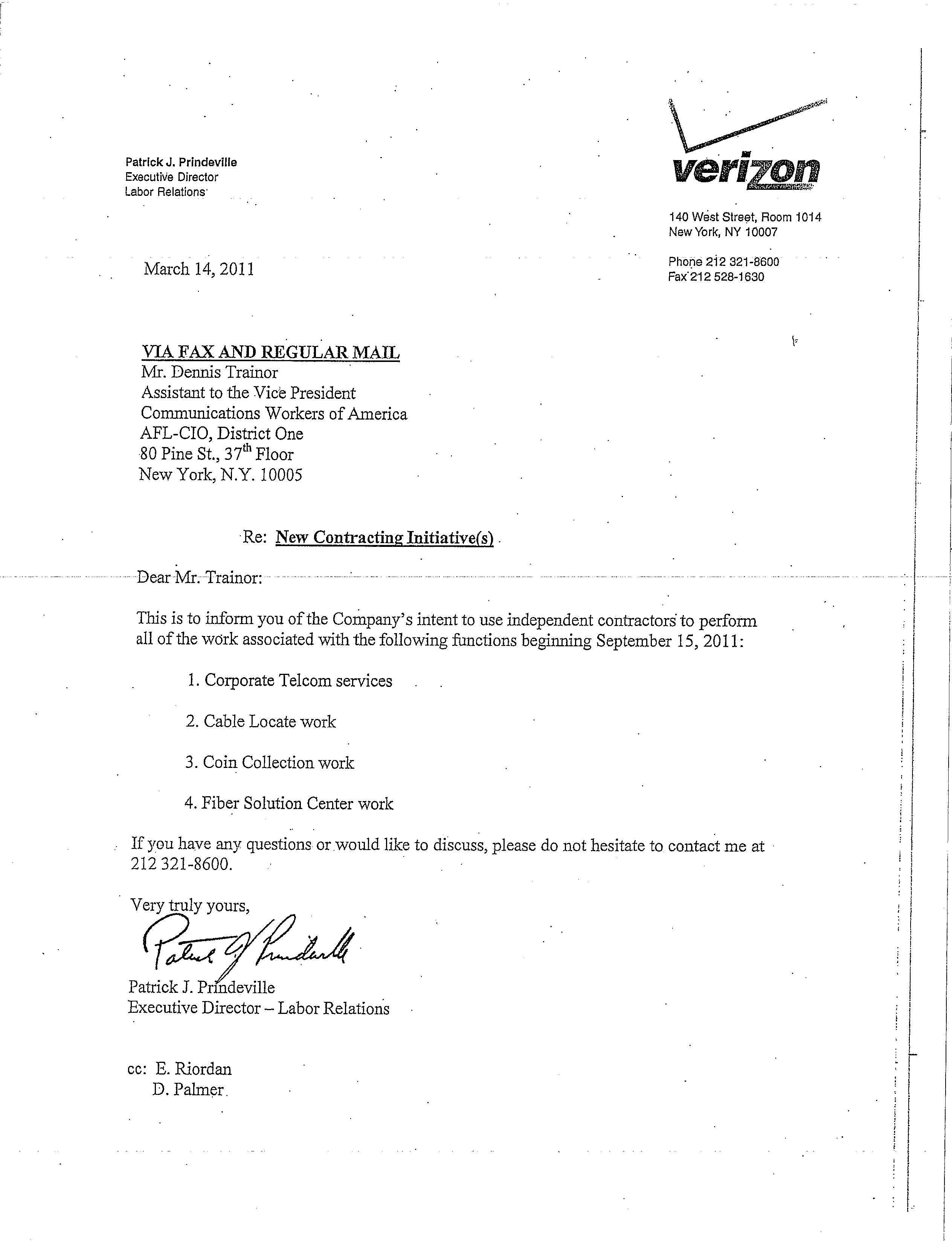 """Verizon Plans To Use Contractors """"To Do Our Work"""" 